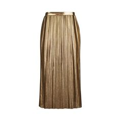 Topshop Tall Metallic Jersey Pleat Skirt (135 BRL) ❤ liked on Polyvore featuring skirts, gold, topshop skirts, calf length skirts, metallic skirt, brown skirt and pleated skirt