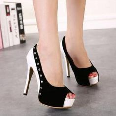 Black And White Peep Toe Heels