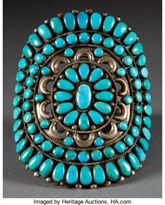 American Indian Art:Jewelry and Silverwork, A ZUNI SILVER AND TURQUOISE BRACELET. c. 1945...