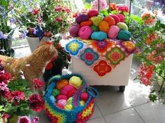 bright yarns and crocheted pieces~~♥~~