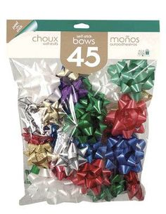 X-LARGE BOWS 50 bows Assorted types: metallic,holographic, cracked ice,splendorette Assorted styles - Star and Diamond Bagged Christmas Tree Bows, Xmas Ornaments, Xmas Tree, Xmas Decorations, Holographic, Metallic, Ice, Star, Diamond
