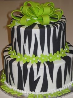 Zebra Cake But With Pink Flowers For Erins Birthday