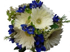 hand-tied bridal bouquet with gerbera daisies & delphinium
