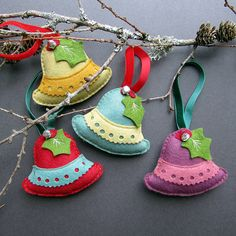 four handmade bell christmas decorations in a gift box by ...