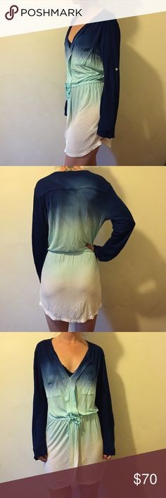 Young, Fabulous & BROKE Blue White Gradient Dress Young fabulous & BROKE blue, turquoise and white gradient dress. Super cute and in new condition! Waist tie, not lined and there are sleeve buttons to roll up sleeves to elbow length. Young Fabulous & Broke Dresses Mini