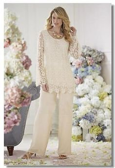 Mother Of The Groom/Bride Dresses Pant Suits With Lace Jacket Scoop Plus Size