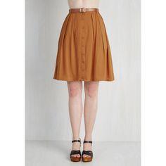 Safari, Scholastic Mid-length A-line Nutmeg Latte Skirt ($50) ❤ liked on Polyvore featuring skirts, pleated mid length skirt, pleated a line skirt, mid length skirts, pleated skirt and button skirt