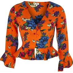 River Island Orange floral print frill hem blouse ($64) ❤ liked on Polyvore featuring tops, blouses, crop tops / bralets, orange, women, bralette tops, floral blouse, bralette crop top, floral crop top and v neck crop top