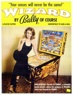 actress Ann-Margret promoting Bally Wizard pinball, 1975
