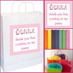 6x Personalised Party Gift Bags Boy Girl Custom Birthday Loot Tissue