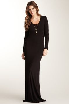 Long Sleeve Scoop Neck Maxi Dress by Go Couture