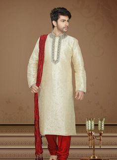 Cream jacquard ethnic kurta pajama for weddings CE0622