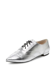 Wingtip Leather Pointed-Toe Flat from Stylish Flats on Gilt