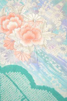 VINTAGE SILK WEDDING FABRIC:Furisode Embroidered Tree Peony@R41