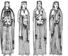 4 women in 13th cen fashions                                                                                                                                                      More