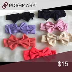 "Choose two Solid color bow Headband New they are 15"" headbands and 5"" bow choose two Accessories Hair Accessories"