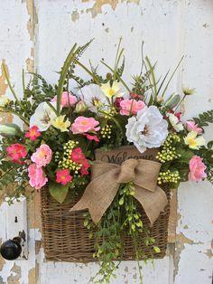 Spring Wreath, Spring Wall Basket, Summer Wall Basket, Spring Door Basket by FlowerPowerOhio on Etsy