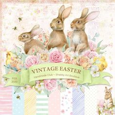 3 Quick and Easy Printable Easter & Spring Projects - Shabby Art Boutique Spring Projects, Easter Projects, Vintage Easter, Vintage Christmas, Etiquette Vintage, Spring Banner, Easter Wallpaper, Making Fabric Flowers, Decoupage Vintage