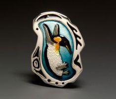 Michele Raney - Enanimals Penguin Pendant Fine Silver and Enamel