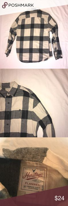 "American Eagle:  Cream w/ Black Flannel 30% off!  Bundle and SAVE!  Limited time ""New to Poshmark"" sale for the start of my Poshmark account.  Bundle 3 or more items and receive 30% off.  Barely Worn  Great Condition  Size:  Medium  Color:  Cream with Black Stripes American Eagle Outfitters Shirts Casual Button Down Shirts"