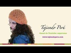 Visita mi página: http://www.tejiendoperu.com/ y encontrarás muchos tutoriales más! Linda boina con caída tejida en palitos!!