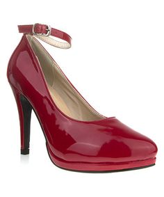 Take a look at this Wine Patent Elena Ankle-Strap Pump by Ssh-oes on #zulily today!
