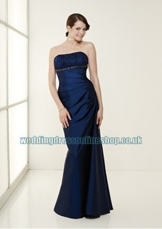 taffeta strapless straight neckline with rouched bodice in sexy floor length sheath skirt and beading decoration 2011 new navy blue bridesmaid dress ca59