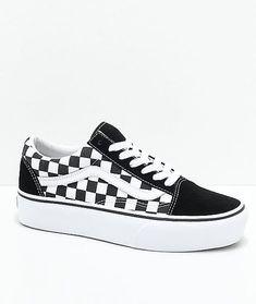 Vans Old Skool Black & White Checkered Platform Skate Shoes