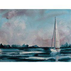 watercolor sailboat seascape