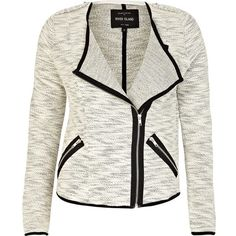 River Island Cream marl soft contrast trim biker jacket (1.850 RUB) ❤ liked on Polyvore featuring outerwear, jackets, river island, blazer, sale, motorcycle jacket, cream motorcycle jacket, blazer moto jacket and river island jacket