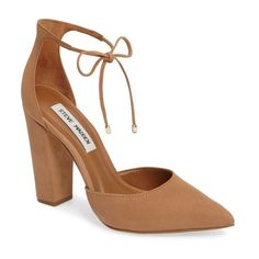 Women's Steve Madden Pamperd Lace-Up Pump (220 BRL) ❤ liked on Polyvore featuring shoes, pumps, tan nubuck leather, d'orsay pumps, block heel pumps, wrap shoes, pointed toe shoes and pointed toe d orsay pumps