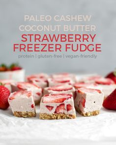 Strawberry Freezer Fudge! Made with fresh strawberries, cashew and coconut butter, some collagen peptides for a protein boost and a date-nut crust. Paleo, vegan-friendly and a great workout treat. | fitmittenkitchen.com #paleodessert #paleorecipes #workoutrecipes #workoutfuel #cleaneating #veganfriendly #strawberryrecipes #nobakerecipes #strawberries #collagenpeptides