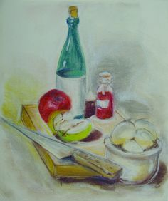 """Colorful pastel still life of a bottle of wine and apples. Unsigned, unframed, 11.5""""H x 9.5""""L."""