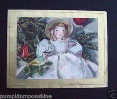 #G761- Vintage Xmas Greeting Card Telka Ackley Baby Doll in Floral Dress & Bird (03/18/2013)