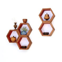 Hexagon Shelves - Wood Floating Shelves - Modern Geometric Home Decor - Bathroom Shelves - Rustic Shelves - Hardwood - Set of 5 Small Shelve (110.00 USD) by HaaseHandcraft