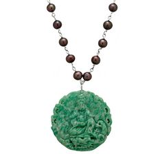 Freshwater Pearl & Green Jade Sterling Silver Necklace
