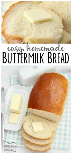 Buttermilk Bread baked fresh in your kitchen with this easy recipe! This recipe for homemade #bread is soft and has incredible flavor. YES it can be made in your BREAD MACHINE! Simple bread #recipe that everyone loves from Butter With A Side of Bread