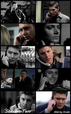 Dean on the phone throughout season two. #SPN #Dean