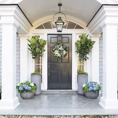 Six Tips For Creating A Dramatic Front Door Container Garden - Pottery Barn Front Door Planters, Front Door Porch, Front Porch Design, Front Door Entrance, Front Entrances, Front Door Decor, Front Doors, Large Planters, Front Entry