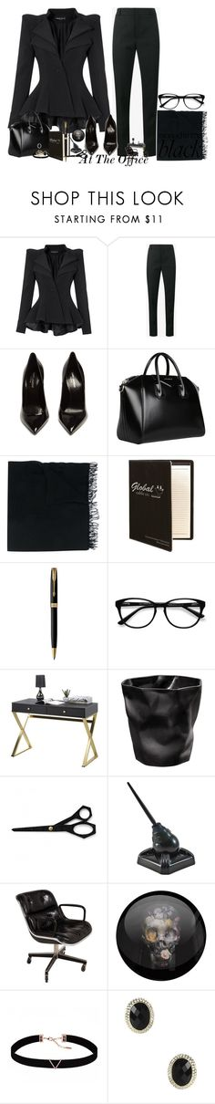 """At The Office"" by mrsb-3 ❤ liked on Polyvore featuring Yves Saint Laurent, Givenchy, Faliero Sarti, Parker, EyeBuyDirect.com, Normann Copenhagen, Zephyr, Knoll, Astrid & Miyu and Amrita Singh"
