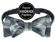 PAPILLON-uomo-NERO-GRIGIO-scacchi-ARTIGIANALE-handmade-pre-tied-BOW-TIE-nuovo