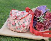Mini Orange Froral with Bow Crossbody Bag, New Women Mini Crossbody Bag, Vintage Zipper Shoulder Bag, Summer Girls Flower Shoulder Bag-LS1