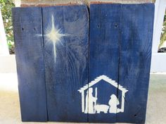 """Nativity Scene Hand Painted on Reclaimed Pallet by TheScarletOak, $40.00 for the larger. (14"""" x 17"""")"""