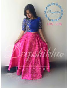 Beautiful pink color skirt and blue color crop top with floret lata design hand embroidery gold thread work. For queries kindly whatsapp on Half Saree Designs, Lehenga Designs, Blouse Designs, Lehenga Gown, Lehenga Blouse, Anarkali, Frock Fashion, Fashion Dresses, Fasion