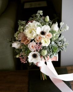 Romantic bridal bouquet with white and blush flowers, white anenomes, and succulents Bridal Shower Tables, Elegant Bridal Shower, Bridal Shower Decorations, Bridal Bouquet Fall, Bridesmaid Bouquet, Wedding Bouquets, Blush Flowers, Pretty Flowers, Flower Centerpieces
