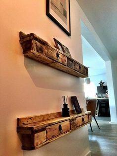 Pallet wall shelves with drawers pallet furniture diy wood pallet shelves, rustic Wooden Pallet Projects, Wooden Pallet Furniture, Pallet Crafts, Wooden Pallets, Rustic Furniture, Diy Furniture, Pallet Wood, Furniture Removal, Furniture Assembly