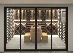 Discover recipes, home ideas, style inspiration and other ideas to try. Wine Cellar Modern, Wine Cellar Design, Wine Cellar Basement, Home Wine Cellars, Wine Wall, Luxury Homes Dream Houses, Bars For Home, Building A House, New Homes
