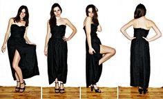 Floor Length Black Roses Strapless Heart Dress.