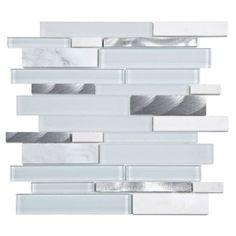 Mojave Salt Random Strip Glass and Marble Mosaic Tile