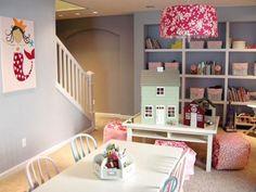 20 Stunning Basement Playroom Ideas; built in shelves for toys/books; fun lighting.